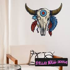 Native American Cow Skull Wall Decal Wall Fabric Repositionable Decal Vinyl Car Sticker Usc001