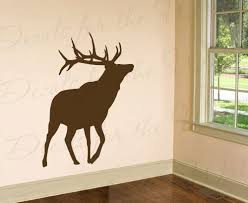 Amazon Com Elk Silhouette Wall Decal Large Vinyl Buck Deer Realistic Life Like Graphic Antlers Hunter Hunting Outdoors Cabin Sticker Art Decor Decoration Sign Mural Home Kitchen