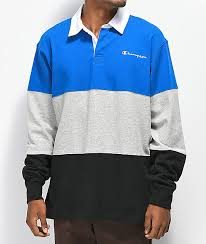 blue grey black long sleeve t shirt