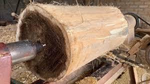 homemade wood lathe machine working