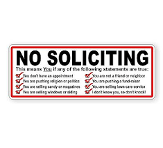 No Soliciting Vinyl Decal Sticker Label Private Trespassing Keep Out Ebay