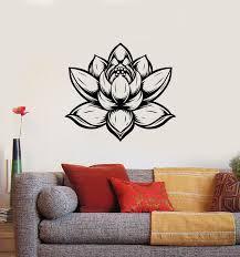 Vinyl Wall Decal Lotus Flower Bud Om Yoga Studio Meditation Stickers M Wallstickers4you