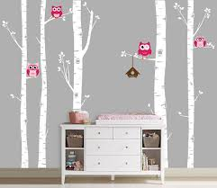 Owls And Birch Tree Forest Wall Decal Birch By Inaninstantart 72 00 Birch Tree Wall Decal Birch Tree Decal Tree Wall Decal