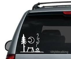 Camp Fire And Tent Die Cut Vinyl Decal Campfire Hiking Car Window Sticker Phone Ebay