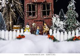 Miniature Christmas Scene Rustic House Decorated Stock Photo Edit Now 526471351