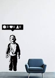 Amazon Com Banksy Vinyl Wall Decal Boy Crying Out For Social Media Attention Child With Facebook Phone Street Art Graffiti Sticker Free Decal Sk337 W15 H35 Arts Crafts Sewing