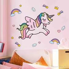 Wall Sticker Unicorn Wall Decal Cute Animal Wall Art Mural Kids Room Decor Rs
