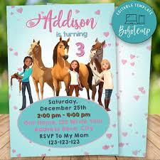 Editable Spirit Riding Invitaciones De Cumpleanos Gratis Descarga