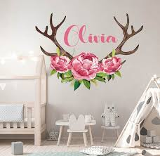 Name Wall Decal Peony Flowers Wall Sticker Girls Name Sticker Etsy