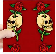 Amazon Com Cafepress Retro Tattoo Skull Rose Red Square Sticker 3 X 3 Square Bumper Sticker Car Decal 3 X3 Small Or 5 X5 Large Home Kitchen