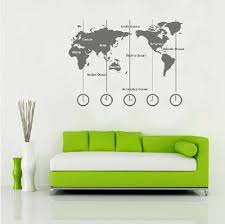 Removable Vinyl World Map Wall Decal Time Wall Art Clock Wall Sticker Wold Map With Time Zone M By Customwalldecal From Customwalldecal Map Wall Decal World Map Wall Decal World