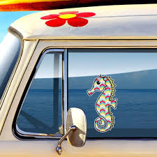 Seahorse Car Decal Colorful Tribal Geometric Pattern Beach Bumper Sticker Sea Horse Laptop Decal Yel Car Window Decals Window Decals Bumper Stickers