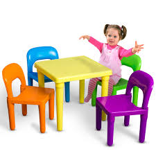 Den Haven Kids Table And Chairs Play Set Colorful Child Toy Activity Desk For Toddler Sturdy Plastic Walmart Com Walmart Com