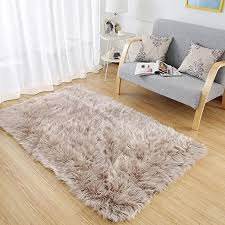 Amazon Com Ojia Deluxe Soft Fuzzy Fur Rugs Faux Sheepskin Shaggy Area Rugs Fluffy Modern Kids Carpet For Living Room Bedroom Sofa Bedside Decor 3 X 5ft Light Coffee Home Kitchen