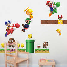 Cartoon Game Super Mario Wall Decals For Bedroom Home Wall Art Decor Adesivos De Parede Diy Pvc Stickers Kids Gift Decals Bike Decal Bannermario Wall Decal Aliexpress