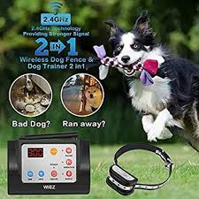 Wiez Dog Fence Wireless Training Collar Outdoor 2 In 1 Electric Wireless Fence For Dogs W Remote Adjustabl Wireless Dog Fence Dog Fence Dog Training Collar