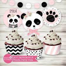 Kit Imprimible Panda Party Rosa Personalizado Candybar