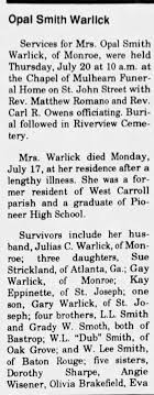 Obituary for Opal Smith Warllck - Newspapers.com