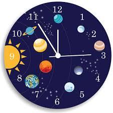 Children Wall Clock Nursery Room Decor The Solar System Boys Wall Clock Wall Clock Nursery Baby Nursery Wall Decor Bedroom Wall Clock