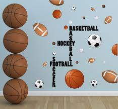 Sports Boys Wall Decal Football Basketball Soccer Baseball