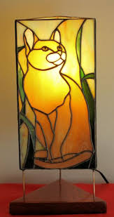 cat lamp pattern for stained glass