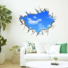 Sky 3d Broken Wall Mural Removable Wall Sticker Art Vinyl Decal Room Decor For Sale Online Ebay