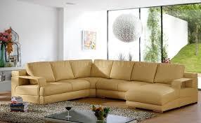 beige leather modern sectional sofa w