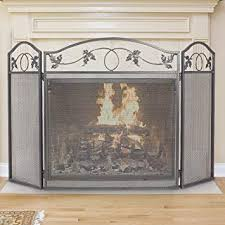 pewter wrought iron fireplace screen