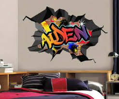 Graffiti Personalized Custom Name 3d Hole Smashed Wall Sticker Decal Mural Wc76 Ebay