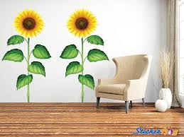 Sunflower Full Color Wall Decals 2 Graphic Vinyl Sticker Bedroom Living Room Wall Home Decor