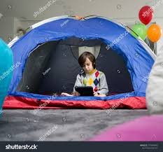 Kids Having Camping Tent Living Room People Stock Image 1575849040