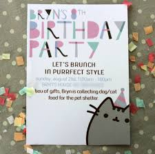 Pusheen Kitty Inspired Party Cumpleanos Pusheen Invitaciones De