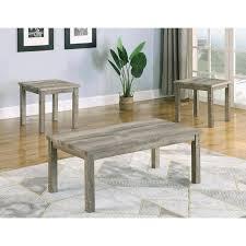 light grey wood 3 piece coffee table