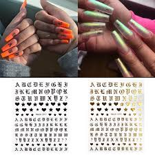 2pcs Letter 3d Nail Art Sticker Nail Decal Gold Letters Black Words Character Nail Adhesive Sticker Decals Nail Decoration Diy Wish