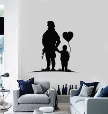 Vinyl Wall Decal Child Heart Balloon Soldier Military Weapon Stickers Wallstickers4you