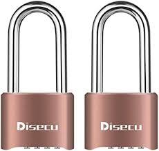 Disecu Heavy Duty 4 Digit Combination Lock Outdoor Waterproof Long Shackle Padlock For Gate Fence Gym Locker Toolbox Brass Pack Of 2 Amazon Com