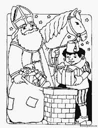 Sinterklaas En Piet Op Het Dak Kleurplaat