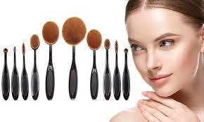 oval makeup brush set 10 piece