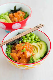 avocado salmon poke salad bowl