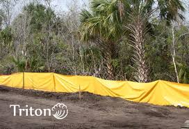 Staked Silt Control Fence Erosion Control In Construction Areas
