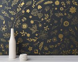 Botanical Wall Decals Modern Vinyl Decal Set Flower Etsy