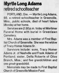 Myrtle Long Adams obituary - Newspapers.com