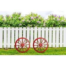 Unbranded Patio Premier 24 In Wooden Wagon Wheel In Antique Red 2 Pack 442008 The Home Depot