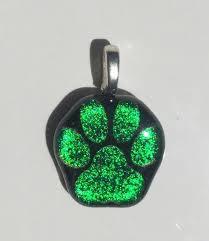 green dog paw laser engraved etched