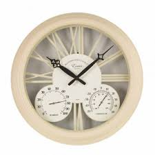 exeter cream outdoor wall clock with