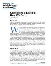 Corrections Education: How We Do It - NW LINCS