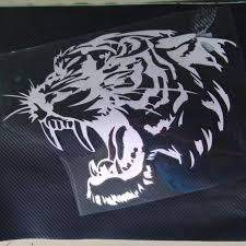 Reflective Tiger Head Sticker Decal Car And Motorcycle Black Silver Catrescue