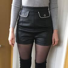 black high waist faux leather go go