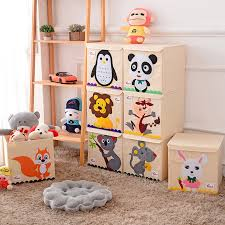 Hot Childrens Fabric Toy Storage Bins Foldable Oxford Cloth Cube Box For Kids 13 Inch Room Tidy Organizes With Lid Storage Box Storage Boxes Bins Aliexpress