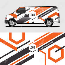 Car Livery Orange Van Wrap Design Wrapping Sticker And Decal Royalty Free Cliparts Vectors And Stock Illustration Image 124381062